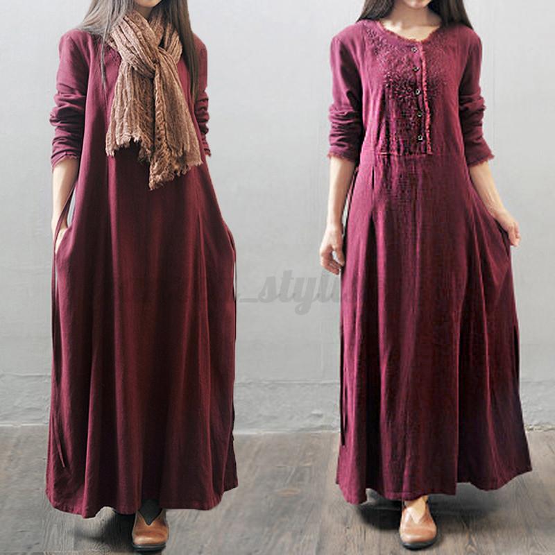 Women-Fall-Long-Sleeve-Button-Baggy-Maxi-Tunic-Long-Maxi-Dress-Kaftan-Plus-Size