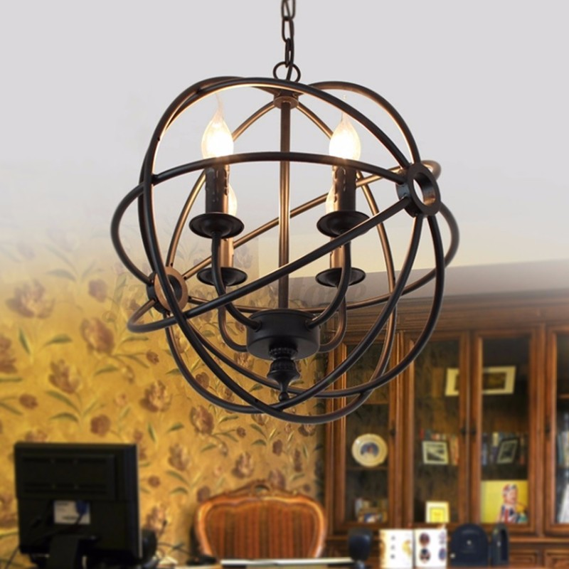 vintage industrial chandelier 6light hanging fixture orb round ball cage fixture ebay. Black Bedroom Furniture Sets. Home Design Ideas