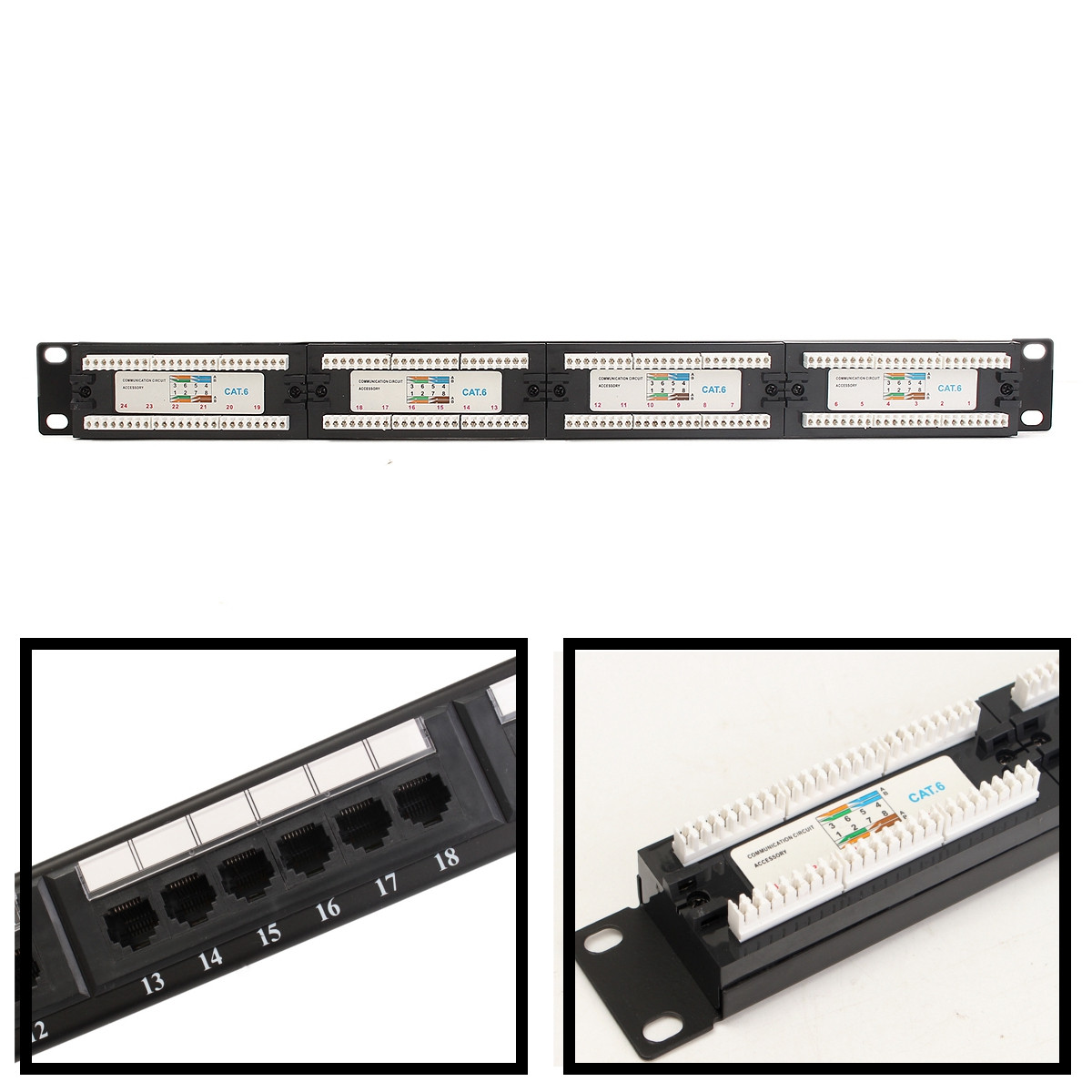Cat6 24 Port Rj45 110 Network Mini Patch Panel 1u 1ru W Wall Mount Cable Networking Wiring Block Jack Ebay Detail Image