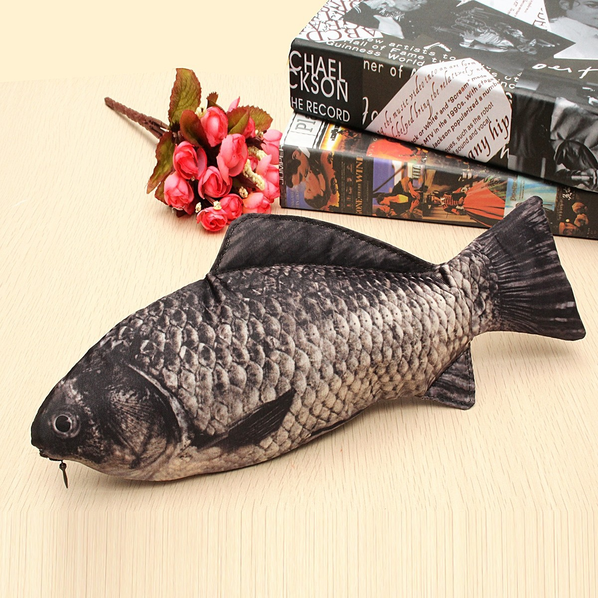 Real fish like zipper pencil case bag funny freshwater for Realistic fish pencil case