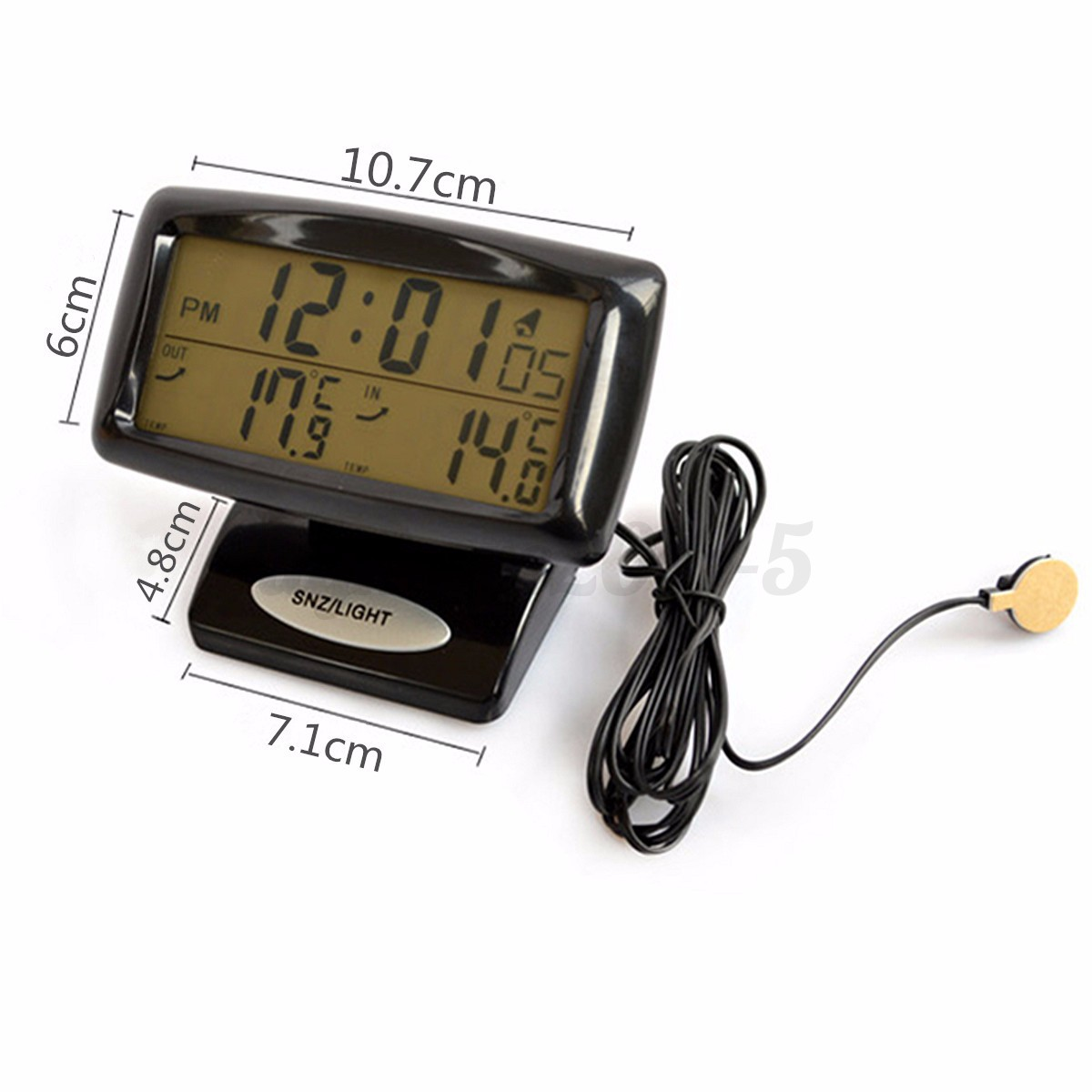 car lcd digital alarm clock monitor dual temperature thermometer inside outside ebay. Black Bedroom Furniture Sets. Home Design Ideas