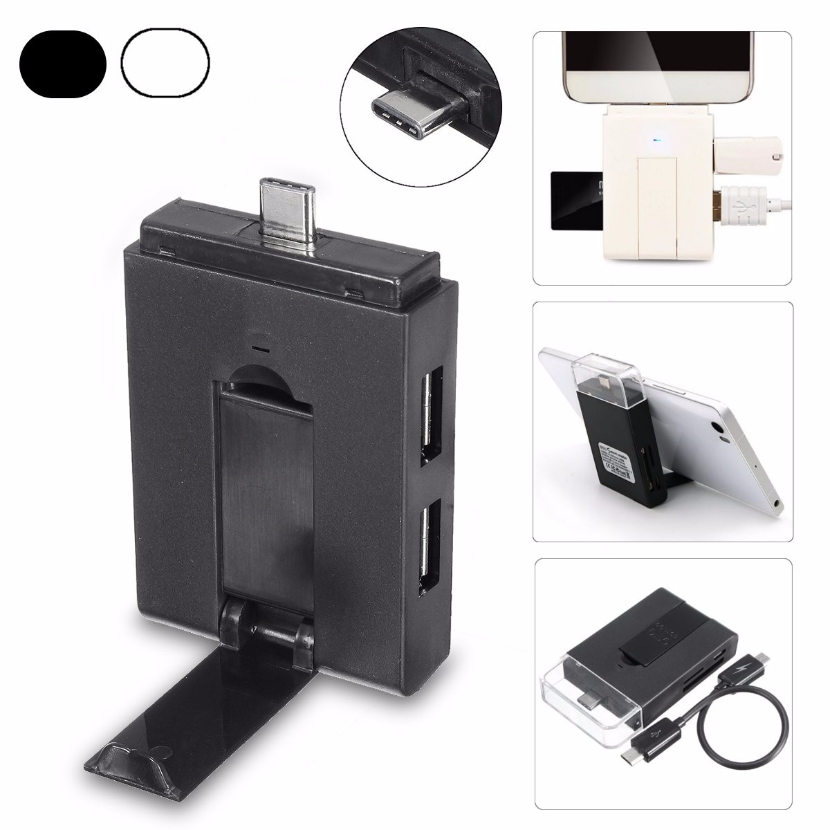 Usb 3 1 Type C Hub Otg 2 Port Micro Sd Tf Card Reader Holder Adapter
