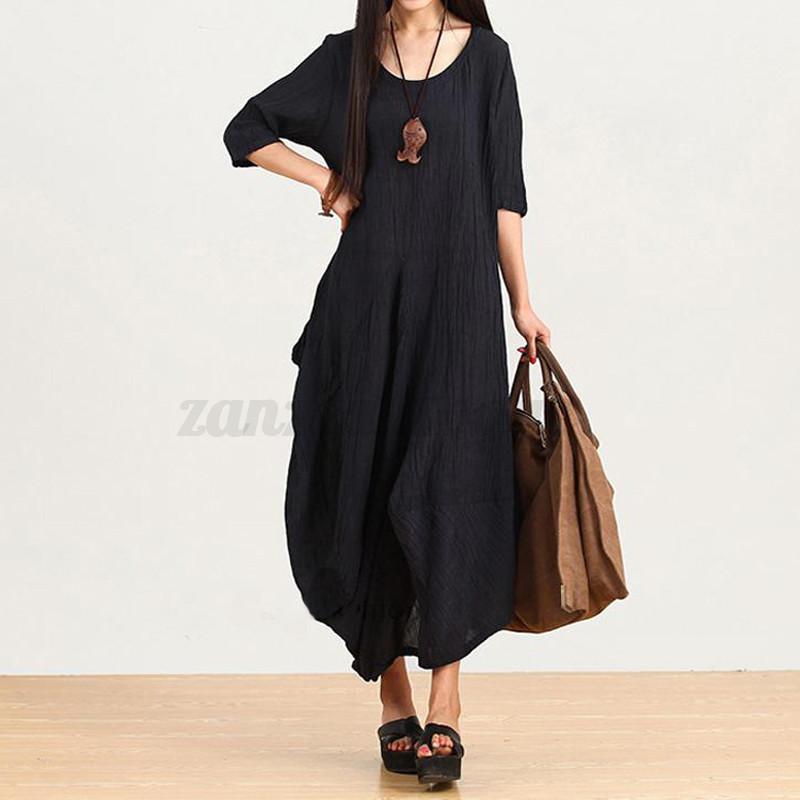 Zanzea-8-24-Women-Summer-Vintage-Retro-Loose-Maxi-Long-Dress-Plus-Size-Kaftan
