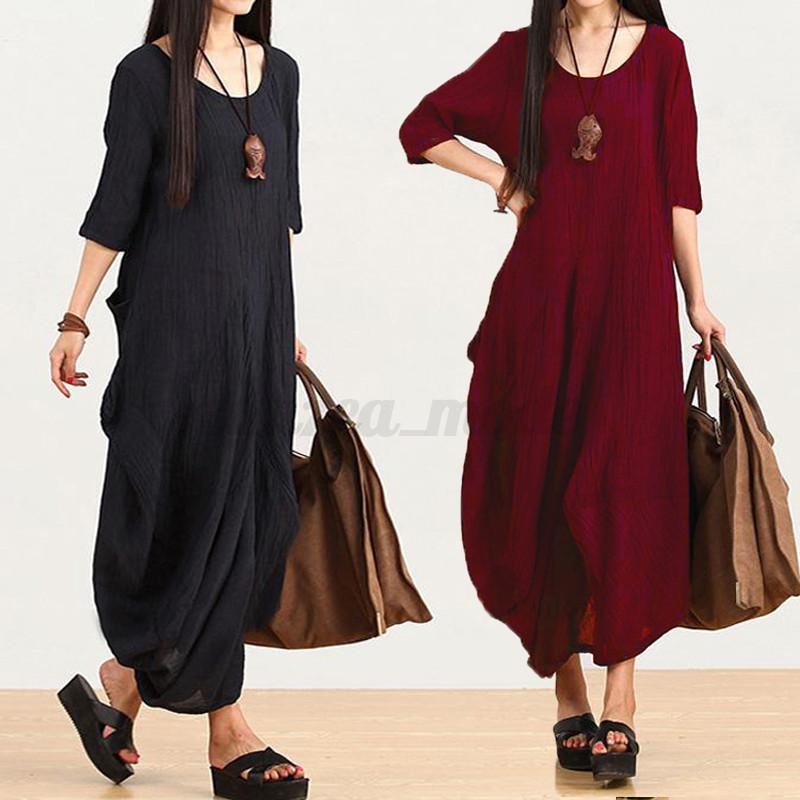 Zanzea-AU-8-24-Women-Half-Sleeve-Vintage-Tops-Blouse-Maxi-Long-Dress-Kaftan-Robe