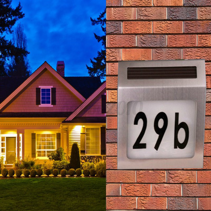 solar powered led house address door number doorplate lamp wall light waterproof ebay. Black Bedroom Furniture Sets. Home Design Ideas