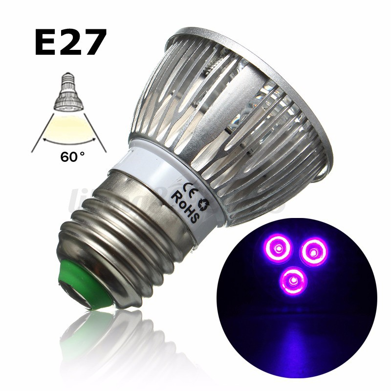 e27 b22 gu10 mr16 3w uv ultra violet led projecteur plantes ampoule 85 265v 12v ebay. Black Bedroom Furniture Sets. Home Design Ideas