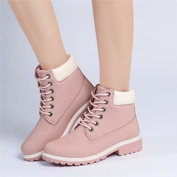 Details about Women\u0027s Winter Leather Snow Ankle Boots High Top Casual  Hiking Work Flat Shoes