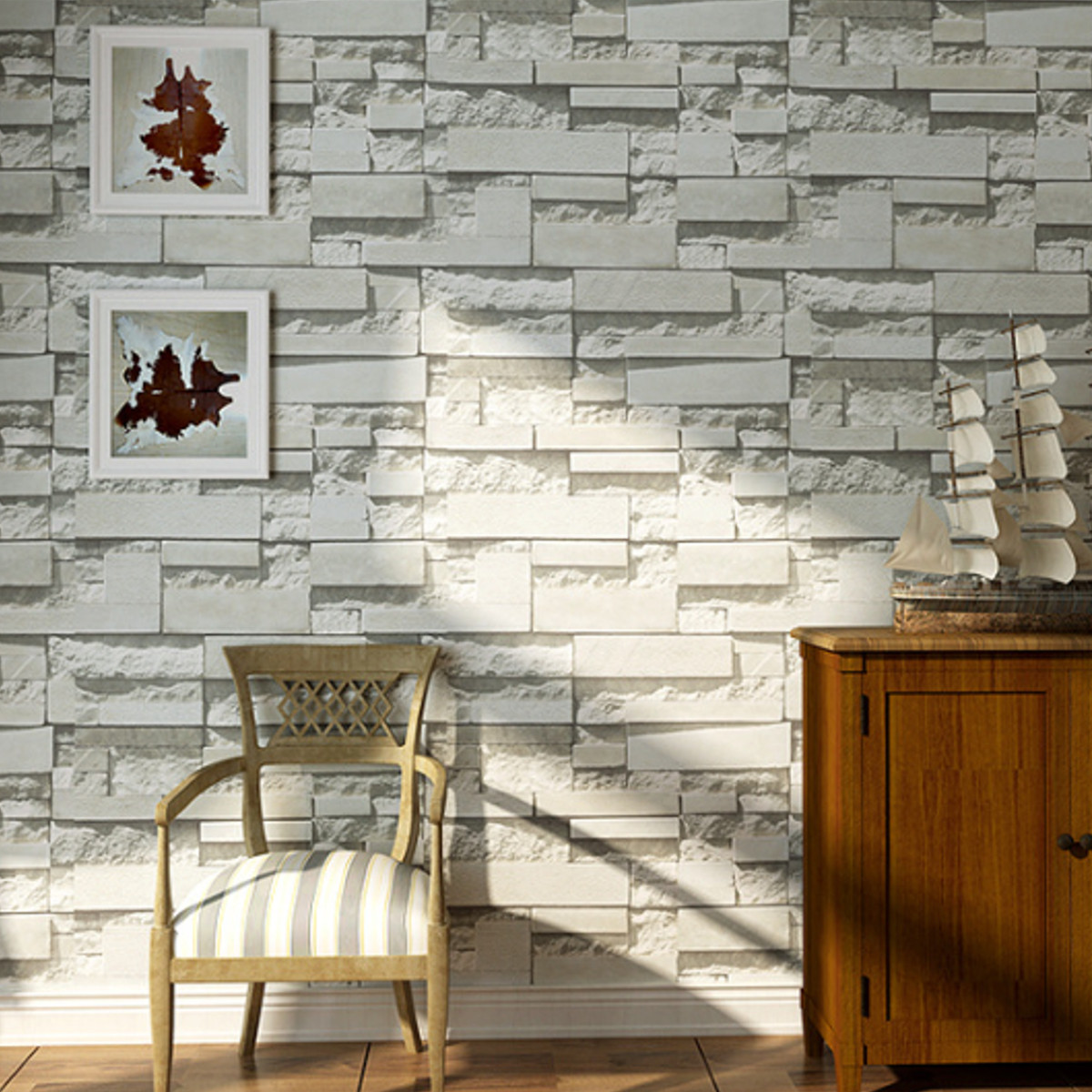 3d brick stone embossed textured home wallpaper wall paper rolls room decor 10m ebay. Black Bedroom Furniture Sets. Home Design Ideas
