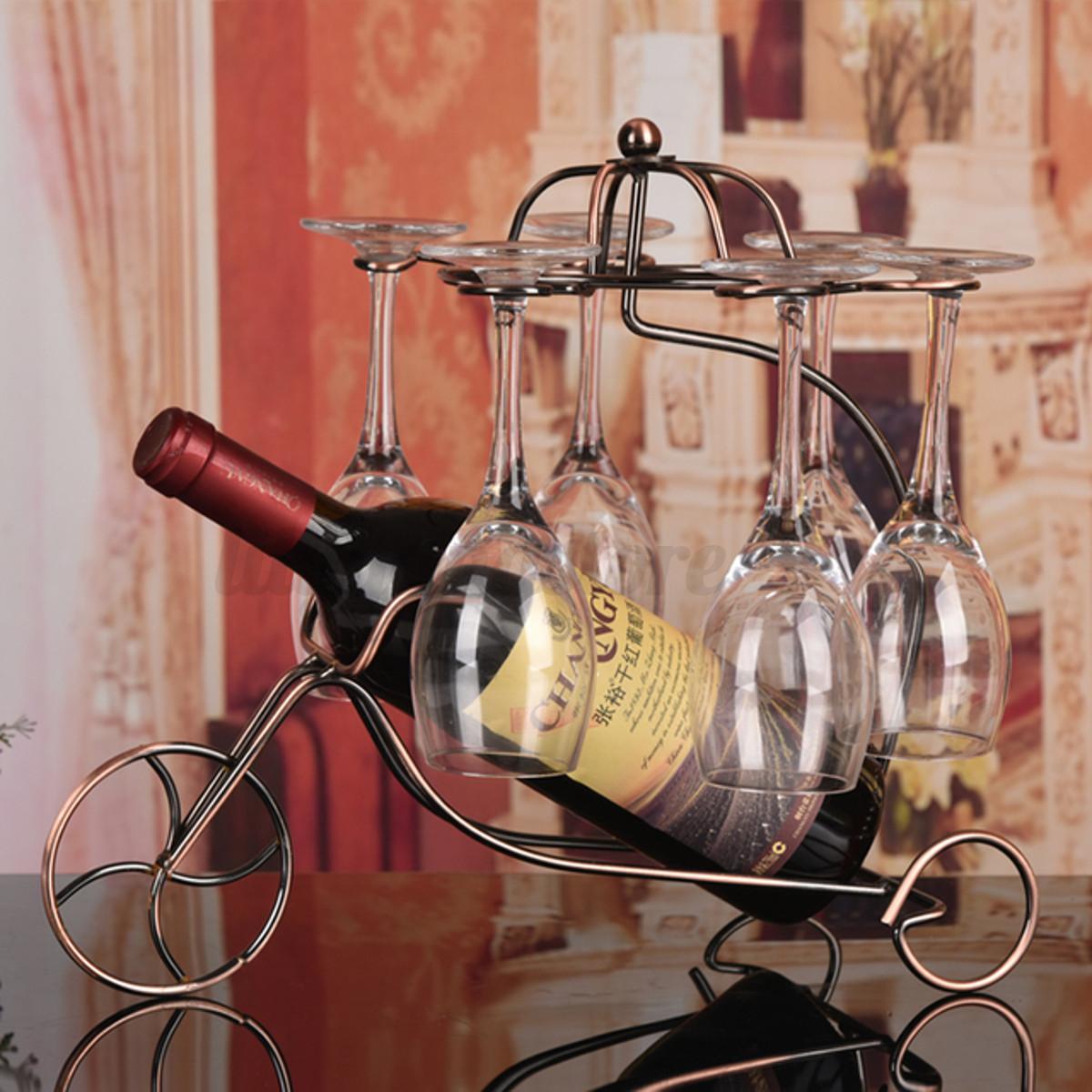 Vintage Metal Wine Bottle Holder Wine Glass Stemware Rack