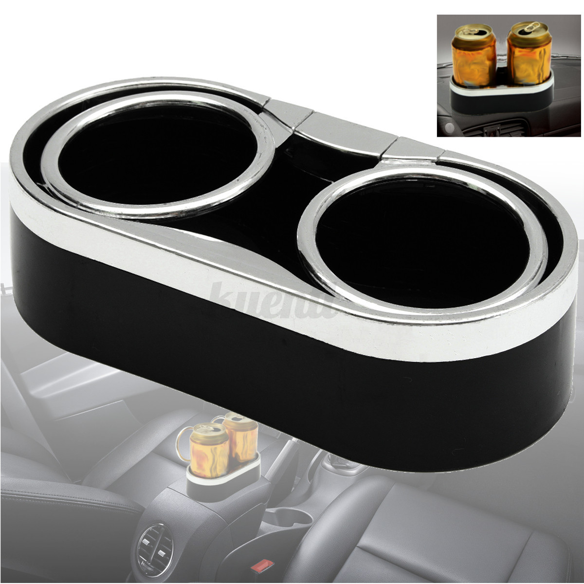 auto car truck adhesive mount dual cup holder drink bottle holder 2 top rings ebay. Black Bedroom Furniture Sets. Home Design Ideas