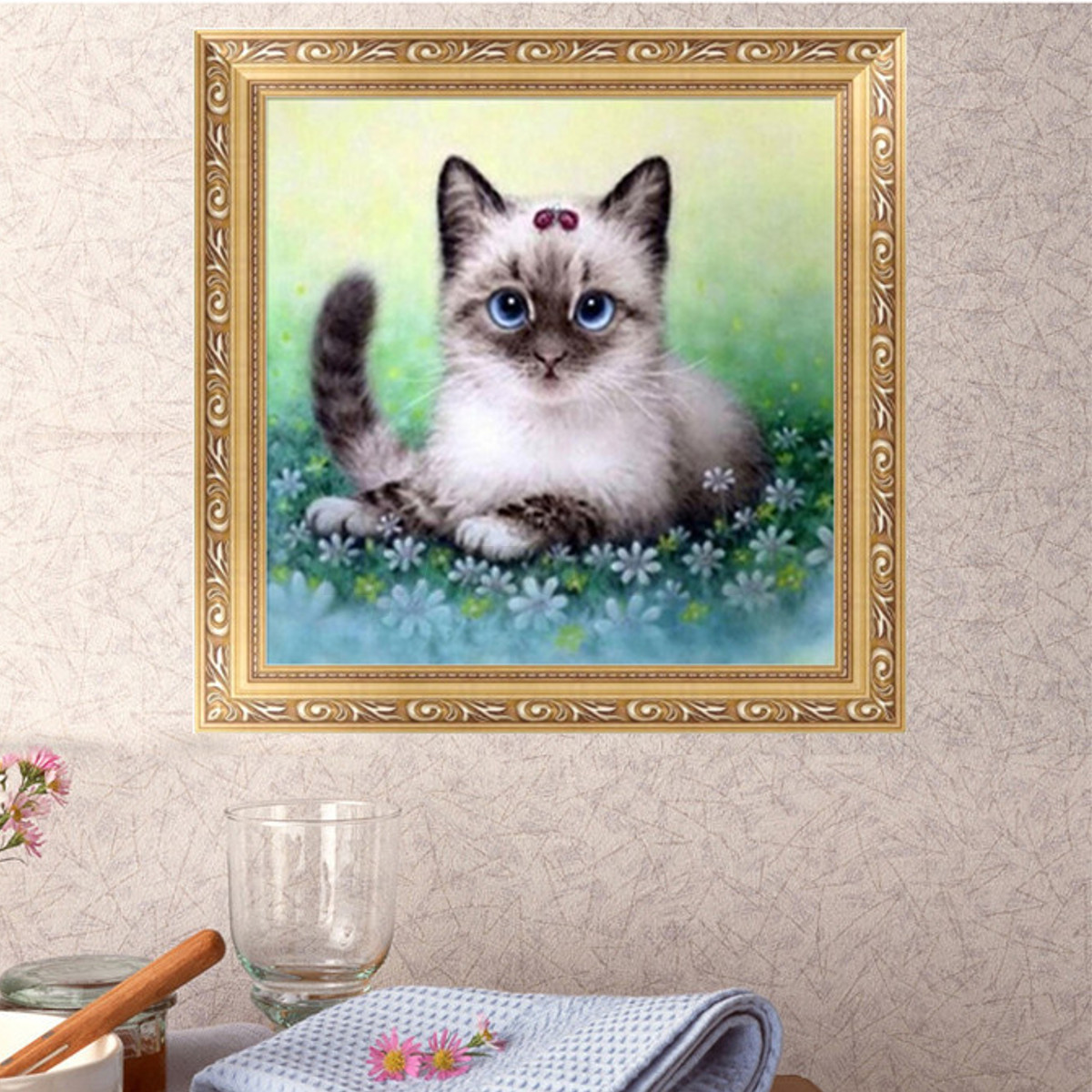Diy 5d diamond painting various cat embroidery cross for Cat decorations home