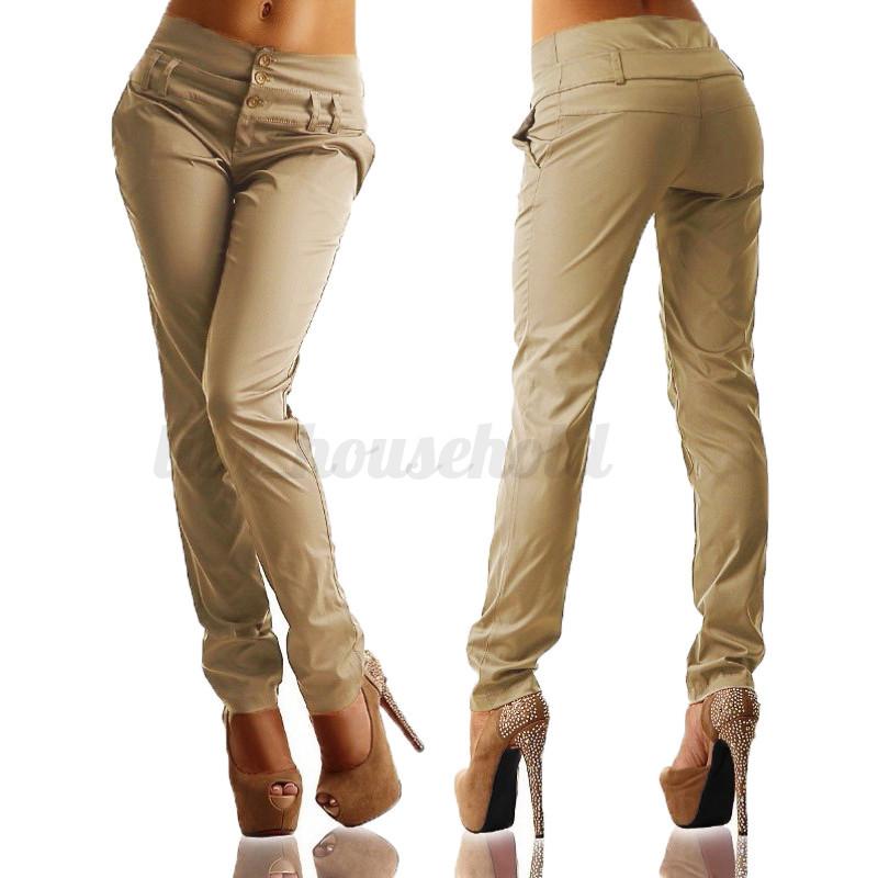 plus damen high waist r hre buttons legging pencil b ro. Black Bedroom Furniture Sets. Home Design Ideas