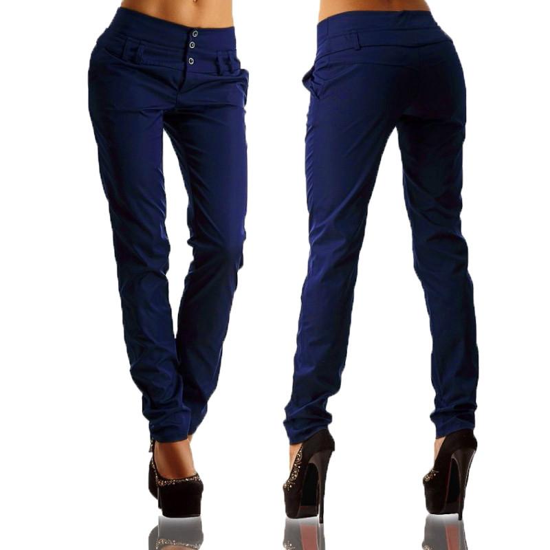 Women-Loose-Long-Basic-Pants-Office-Work-Button-Up-Pantalons-Pencil-Trousers