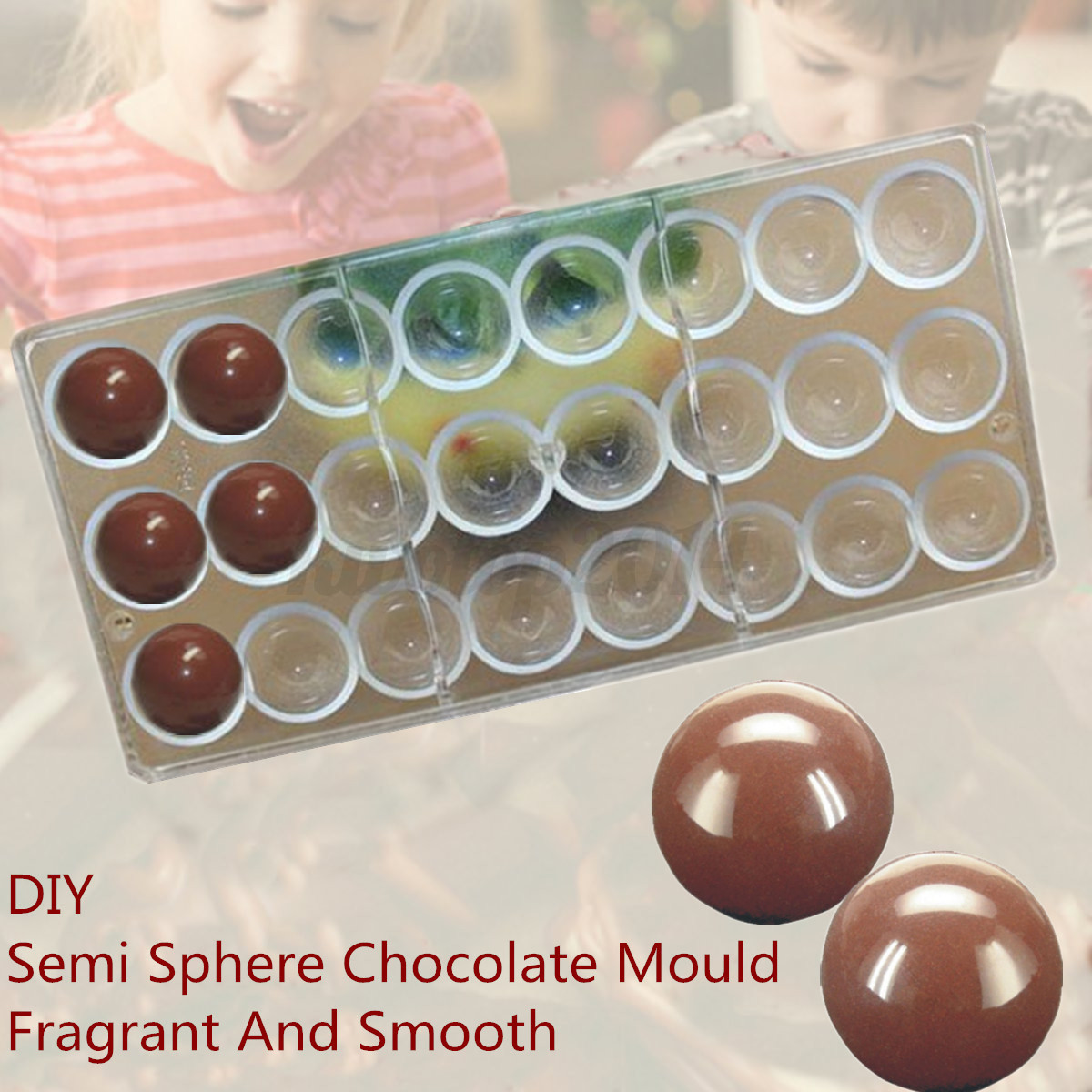 24 Semi Sphere Shaped Polycarbonate Chocolate Clear Moulds Sweet ...