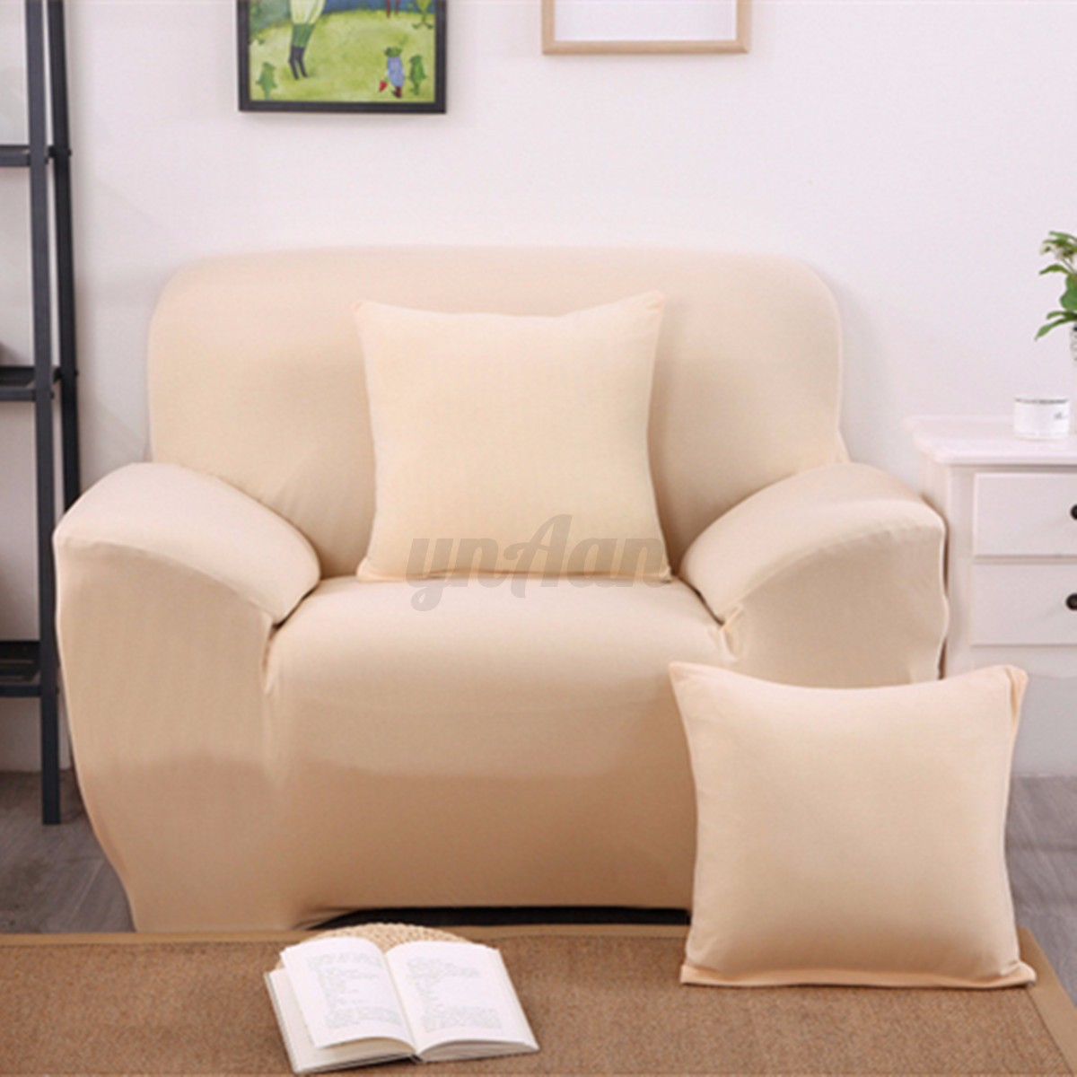 l shape stretch elastic sofa chair pillowcase 1 2 3 seater sectional cover couch ebay. Black Bedroom Furniture Sets. Home Design Ideas