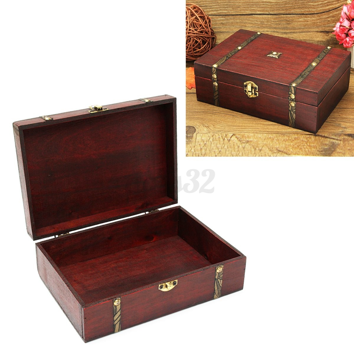 Decorative Wooden Jewelry Boxes : Vintage decorative wooden jewelry trinket storage box case