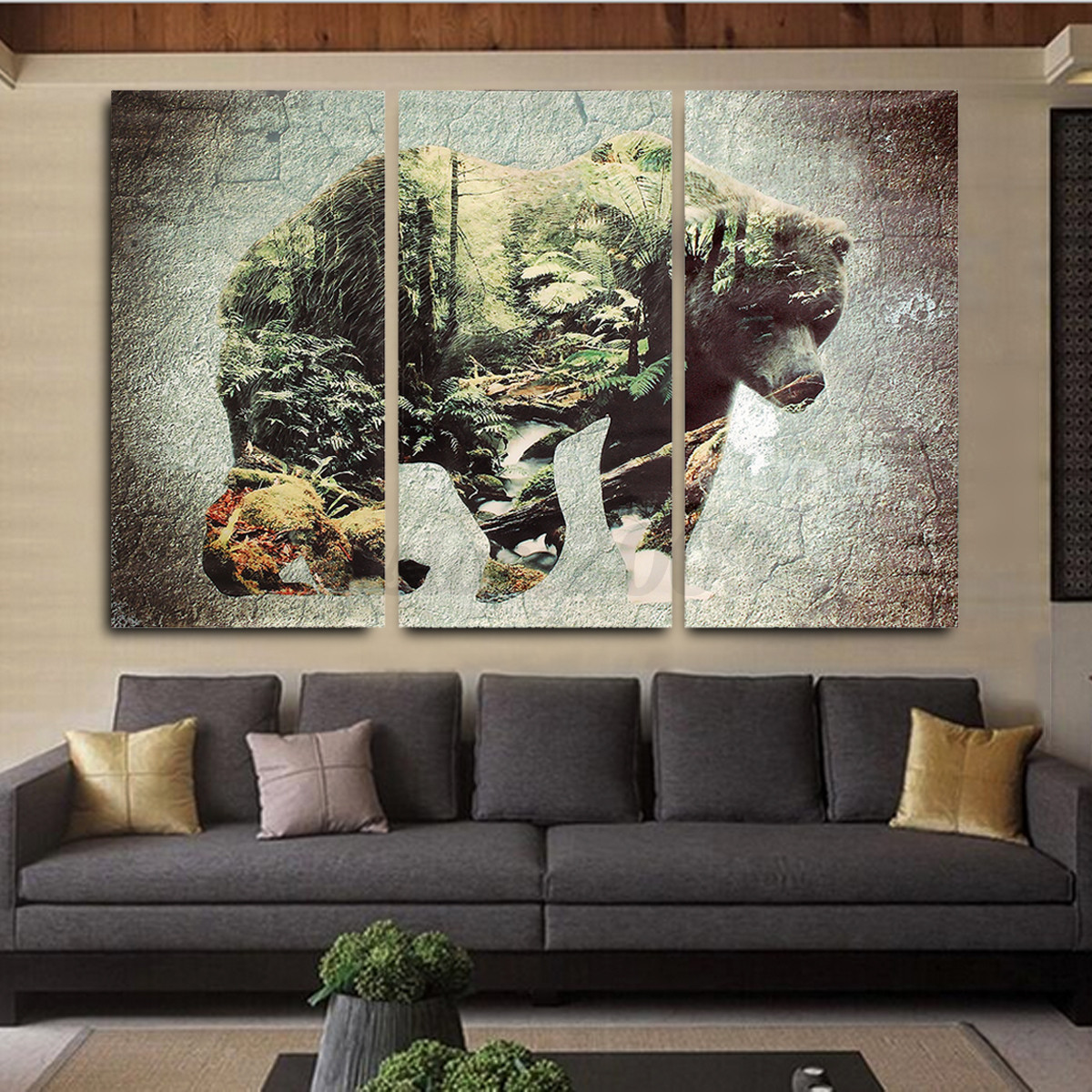 home interior bears jackal canvas print painting decorative wall 12179