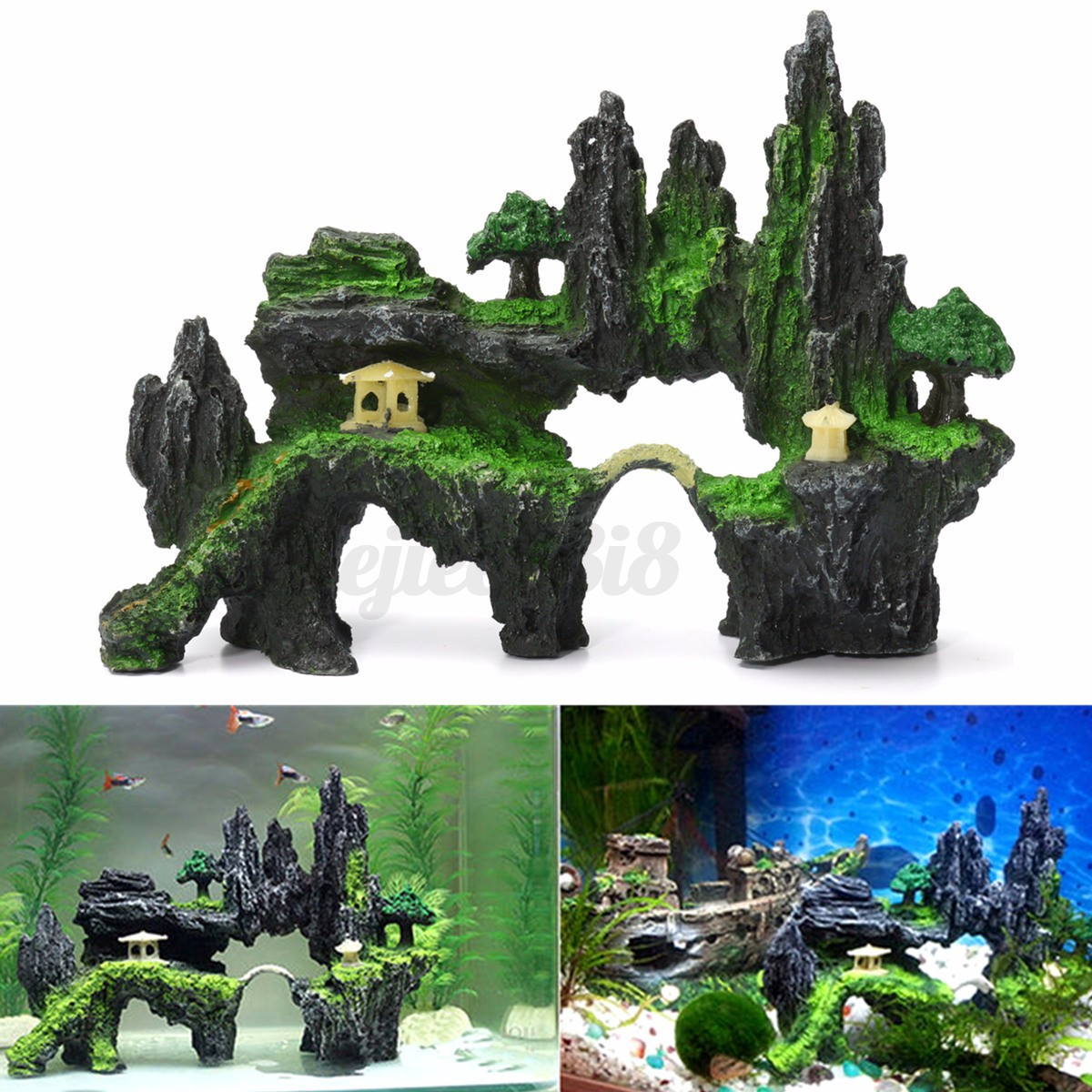 Mountain aquarium plant view tree cave stone bridge fish for Aquarium cave decoration