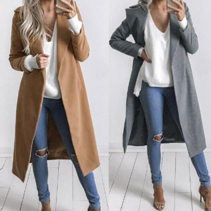 760ba8ad0d2b Women Slim Winter Warm Wool Lapel Long Coat Trench Parka Jacket ...