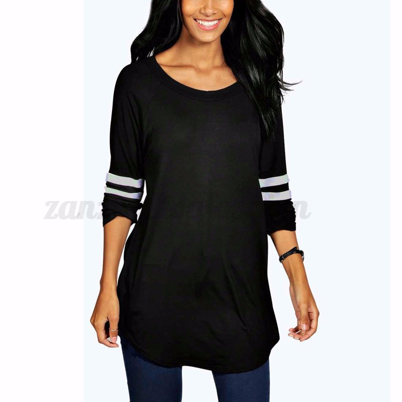 Zanzea oversized women long sleeve stripe crew neck shirts for Women s crew t shirts