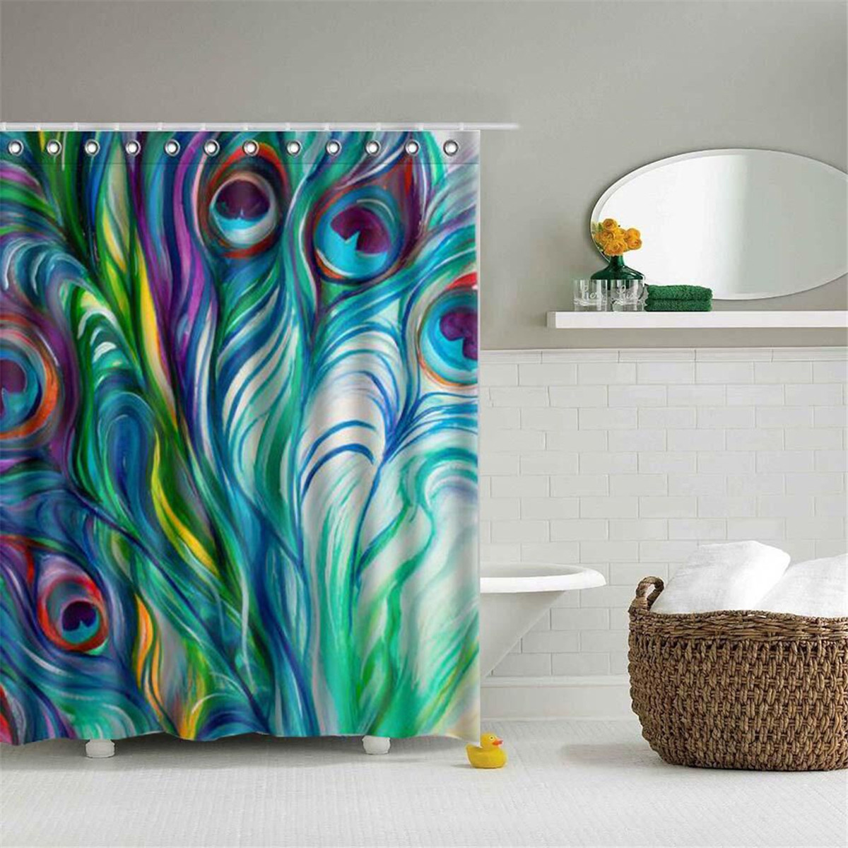 Details About Peacock Feather Waterproof Polyester Fabric Shower Curtain Bathroom W 12