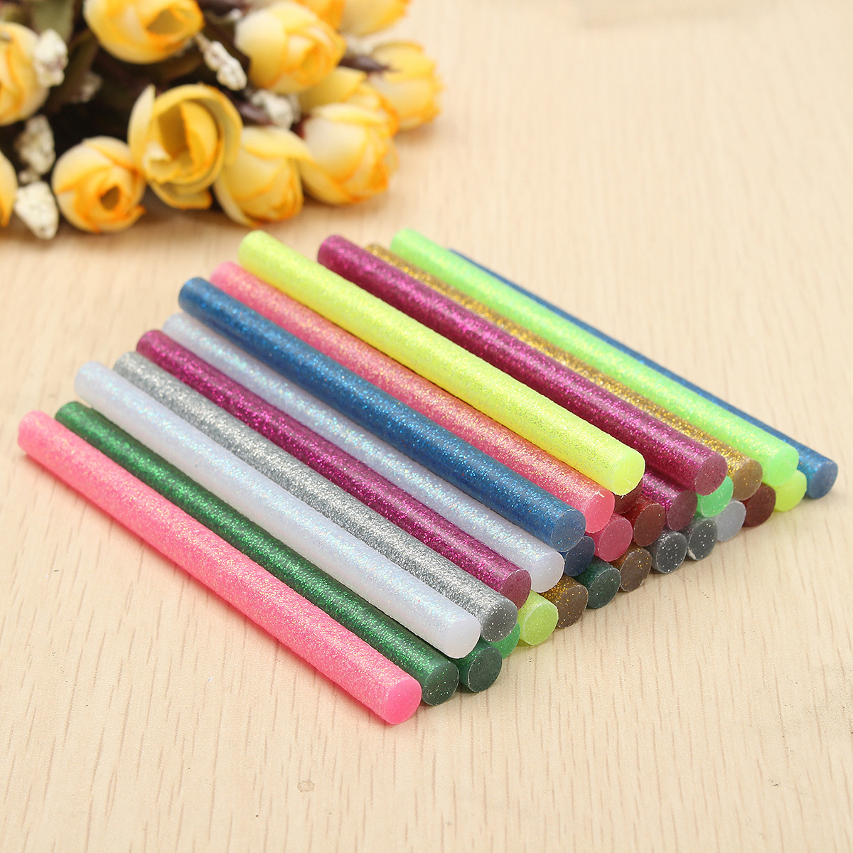 60//90Pcs Multicolor Glitter Hot Melt Glue Adhesive Sticks Craft Handicraft Art