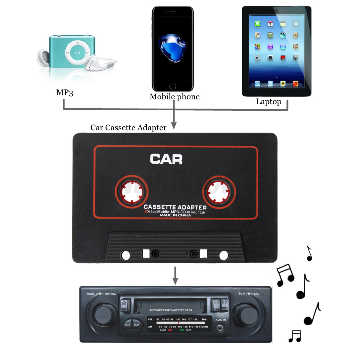 cassette car stereo tape adapter for ipod iphone mp3 aux. Black Bedroom Furniture Sets. Home Design Ideas
