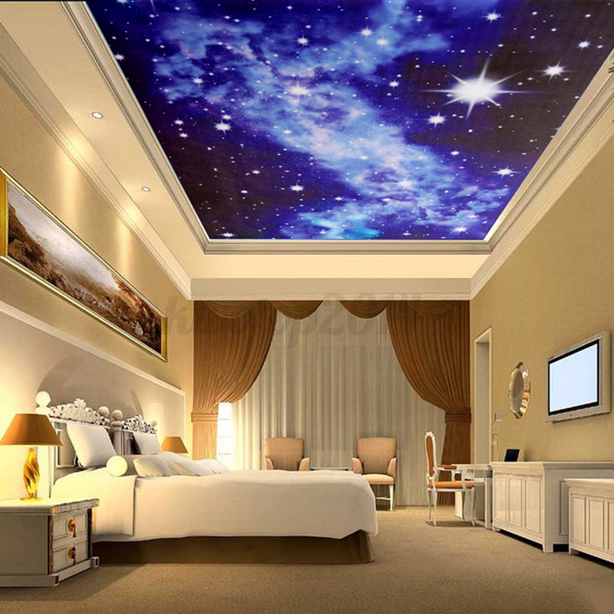 Bed In Livingroom: 3D Bright Stars Wall Sticker Mural For Ceiling Bedroom