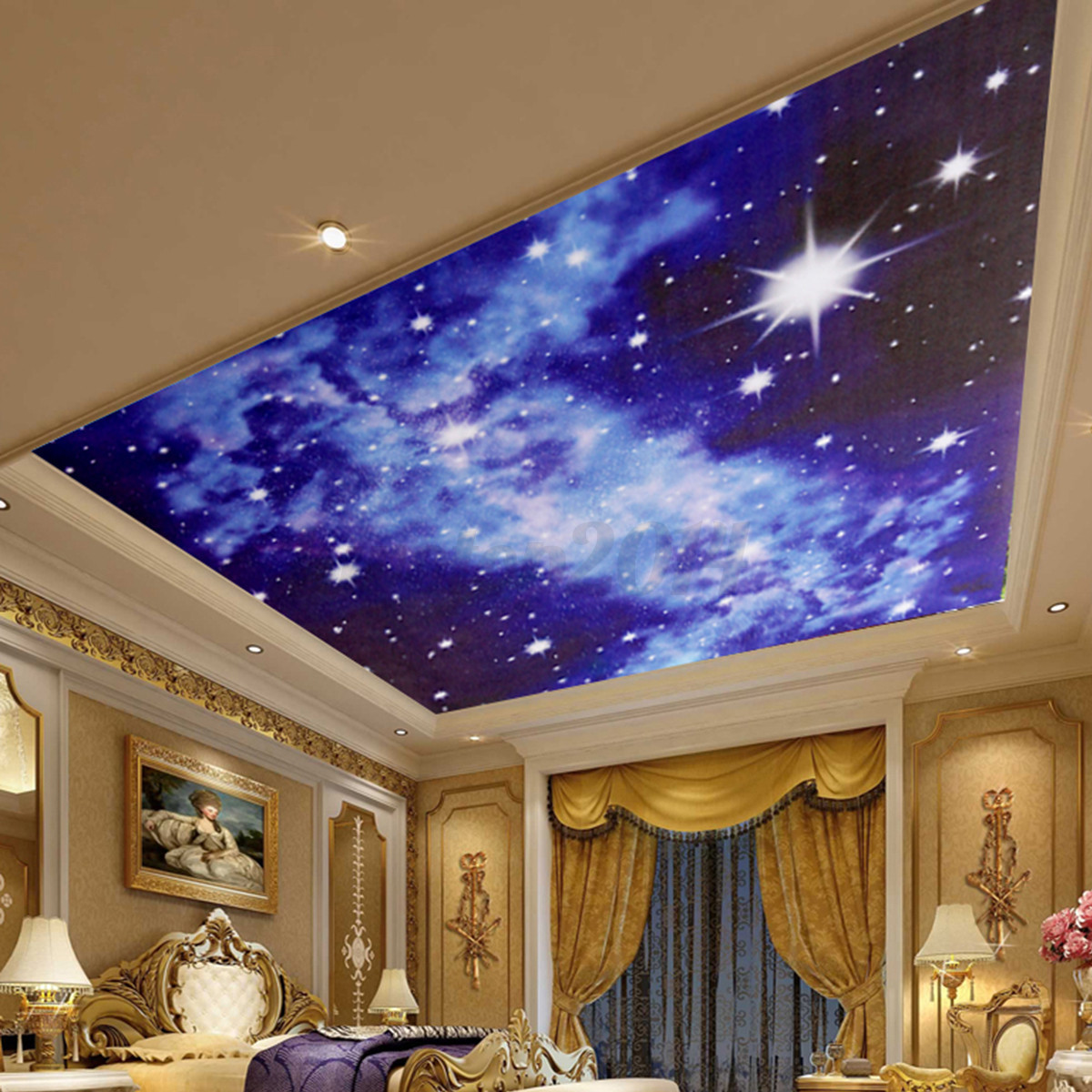 3D Bright Stars Wall Sticker Mural For Ceiling Bedroom