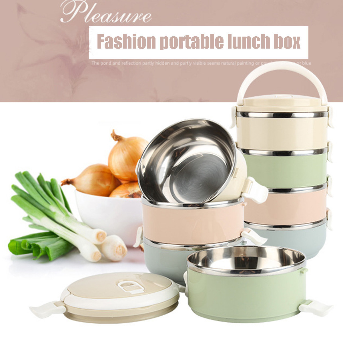 1 2 3 4 stainless steel metal bento lunch box insulated thermal food containers ebay. Black Bedroom Furniture Sets. Home Design Ideas