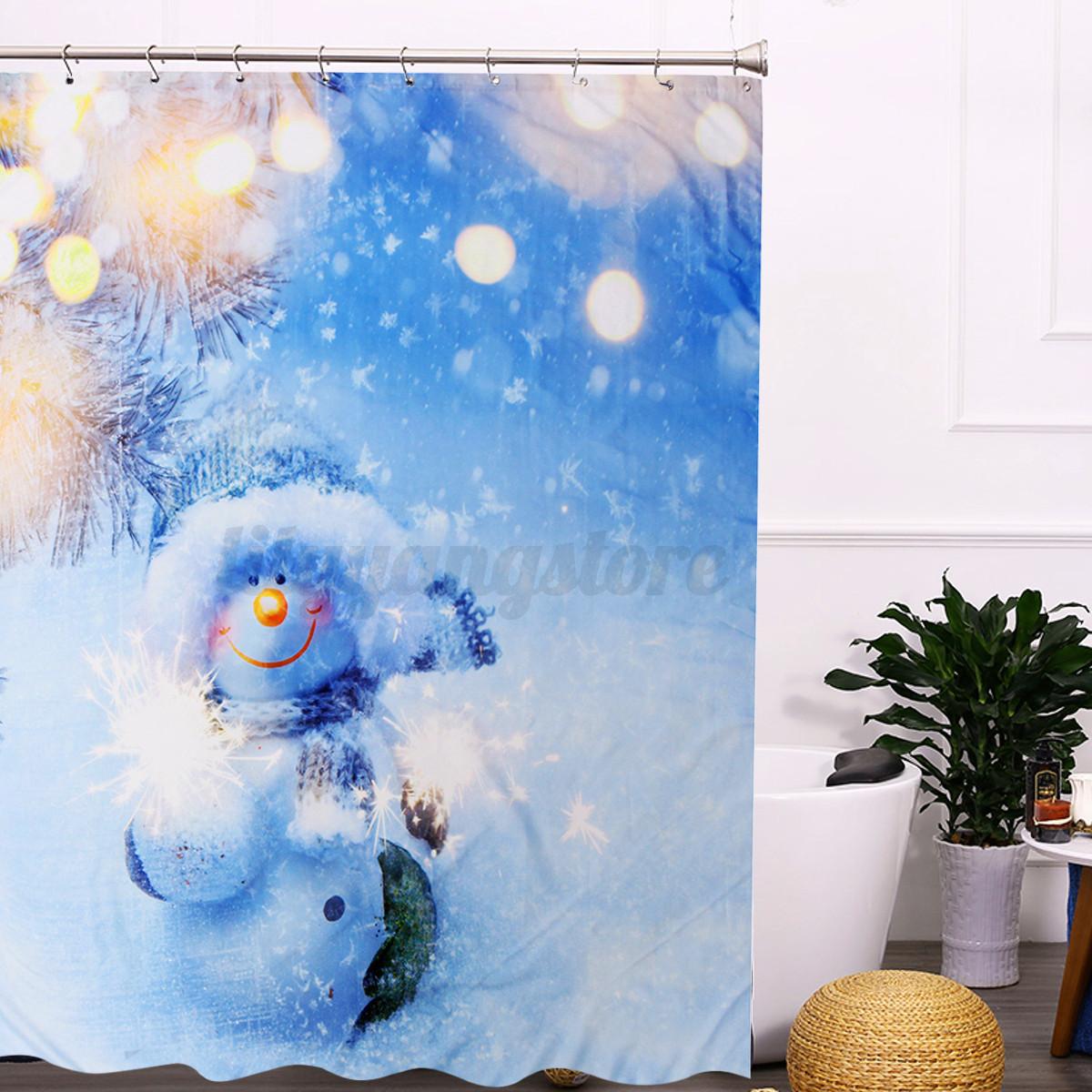 New Christmas Kids Waterproof Polyester Bathroom Shower Curtain Decor Hooks Ebay