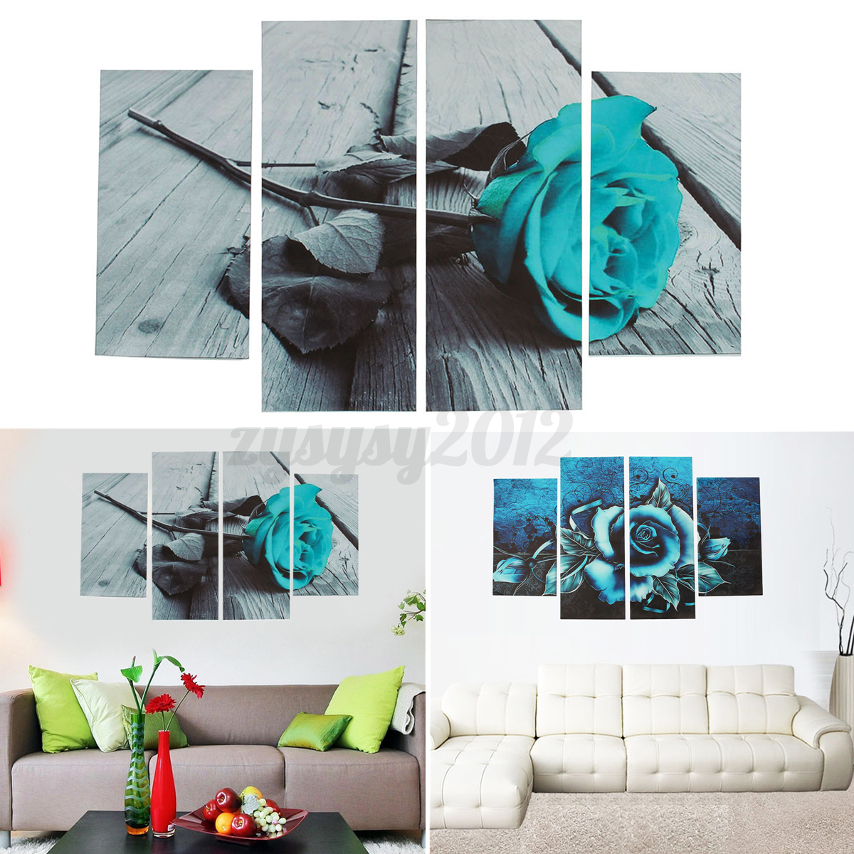 Uk Abstract Floral Flower Teal Rose Canvas Print Wall Art Pictures Home Decor Ebay