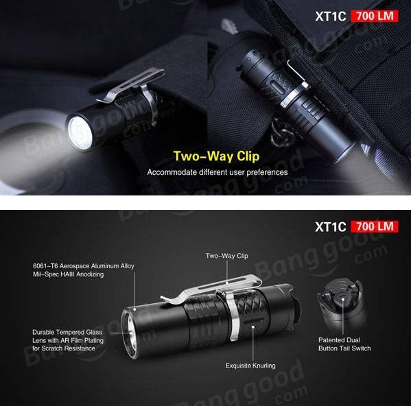 klarus xt1c 700lm militaires lampe de poche la tactique torche chargeur ebay. Black Bedroom Furniture Sets. Home Design Ideas