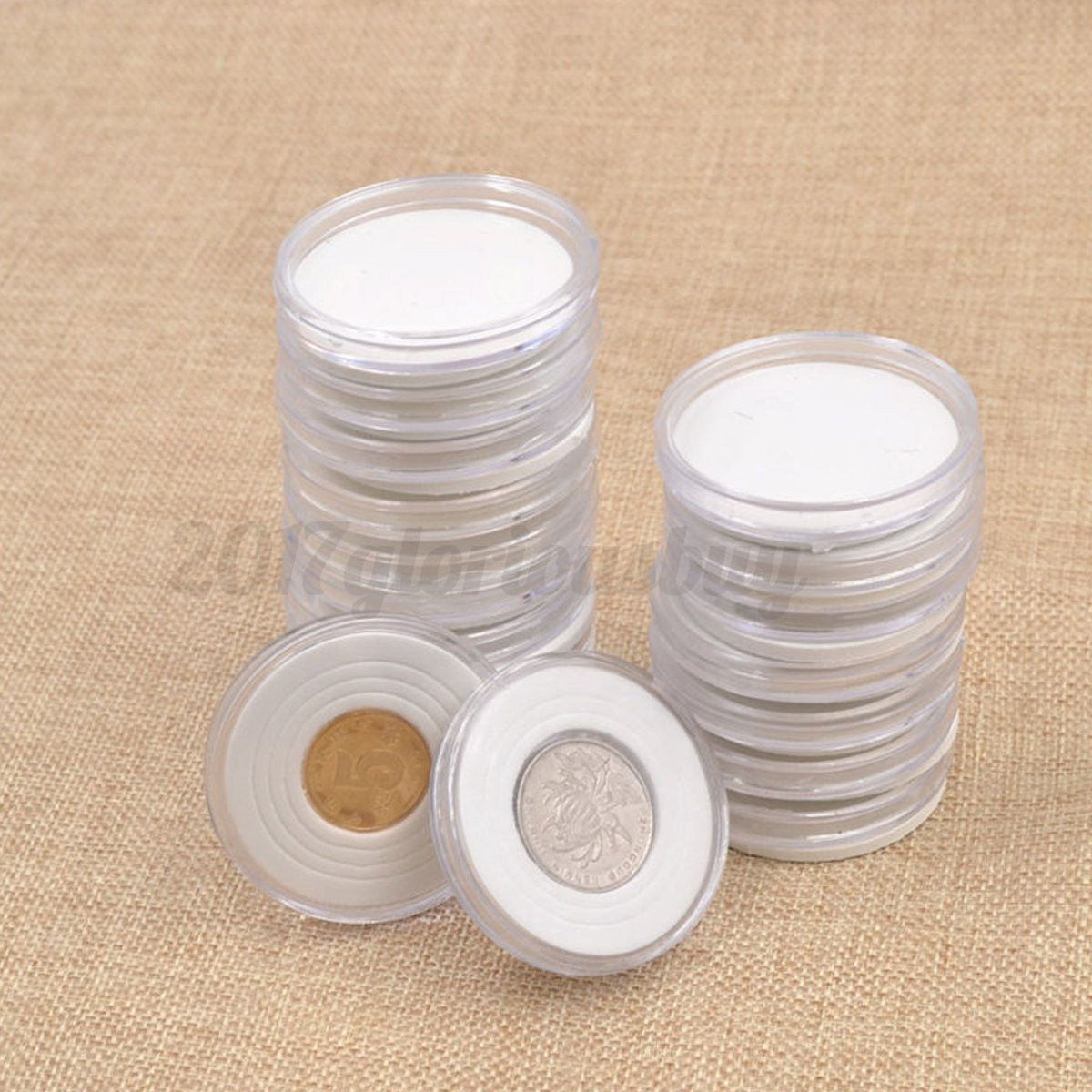 20pcs 30mm Clear Plastic Coin Capsules Coins Holders Containers Penny Holder Boxes