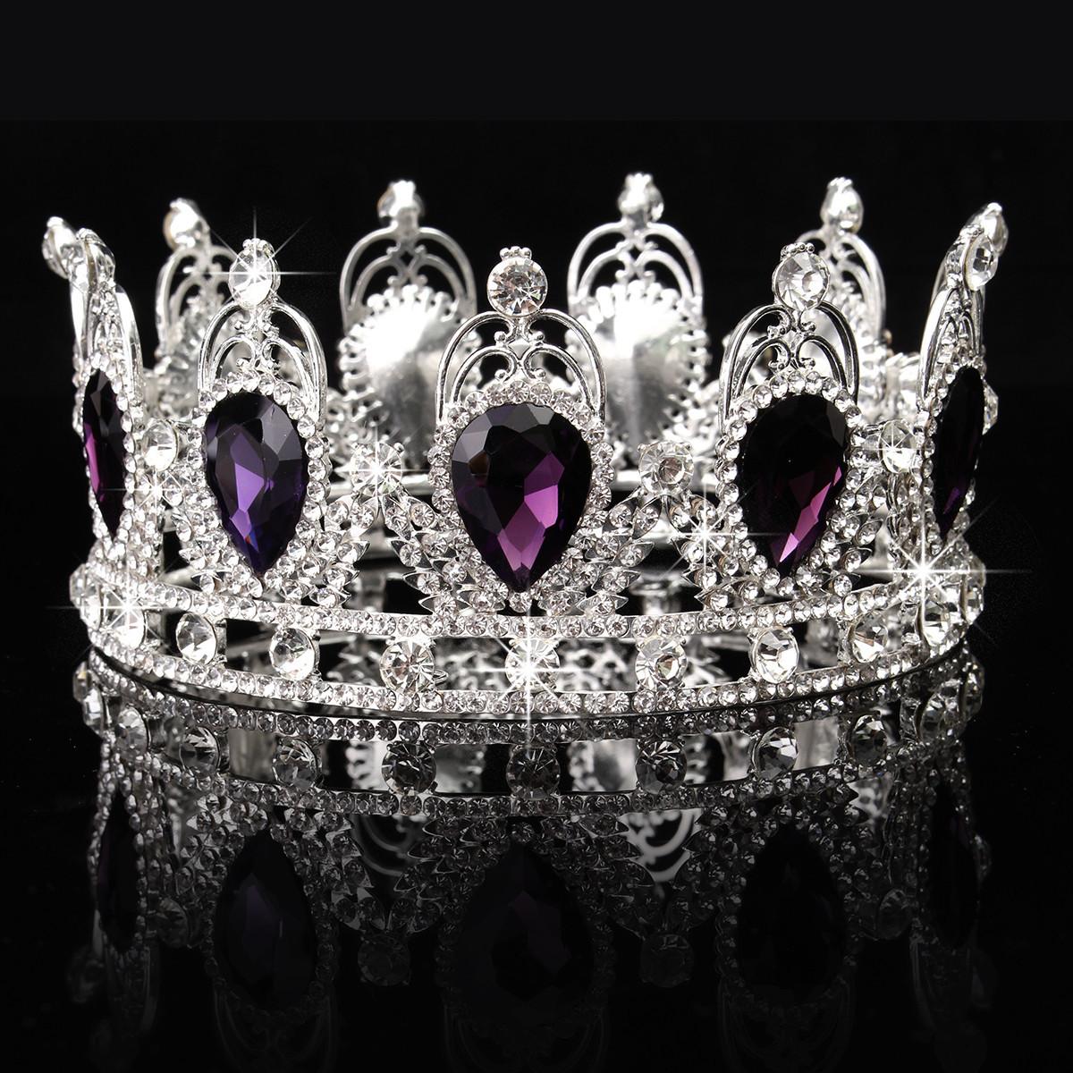Princess-Bridal-Wedding-Prom-Headband-Crystal-Rhinestone-Pearl-Veil-Tiara-Crown thumbnail 22