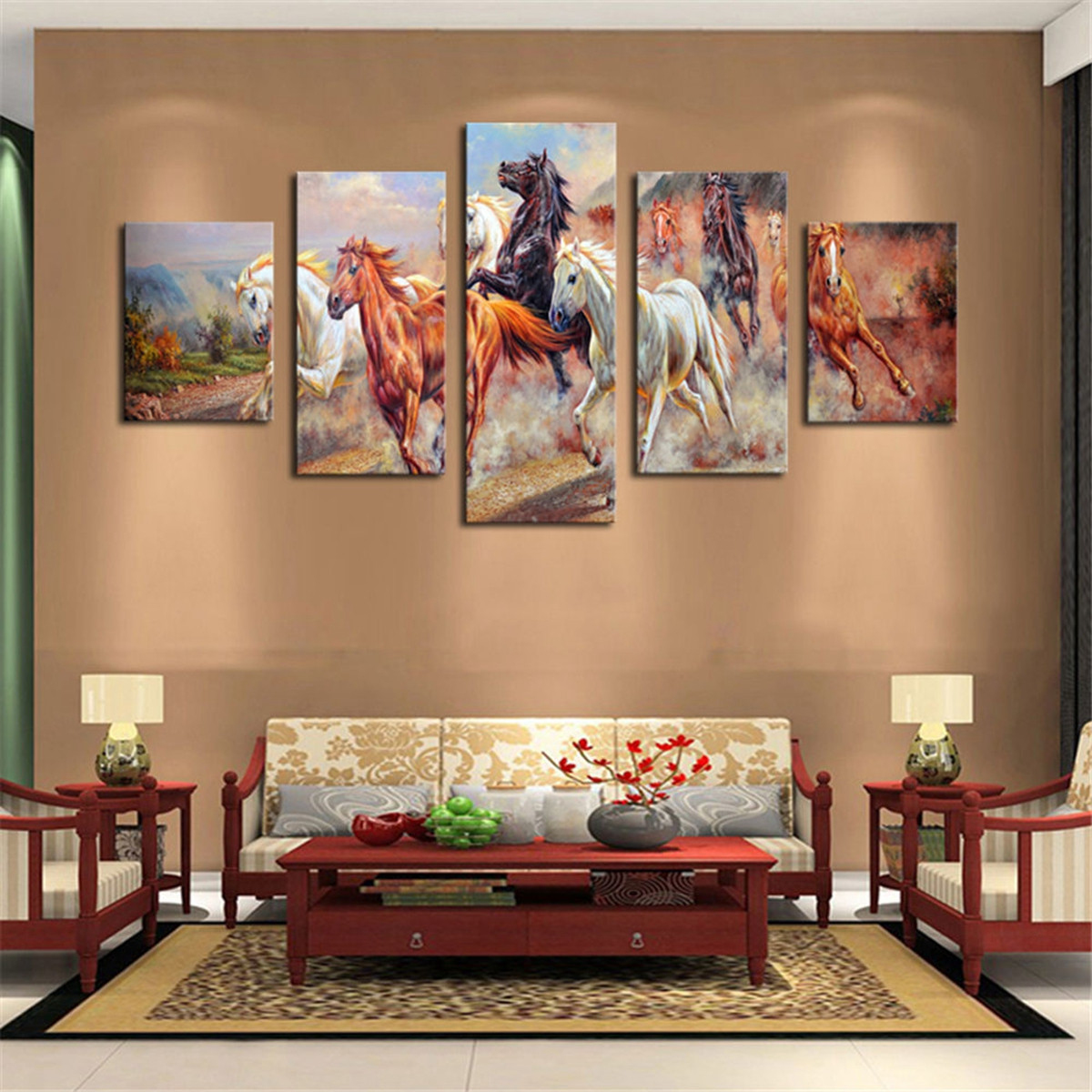 5pcs Horses Wall Painting Canvas Living Room Art Print Picture Decor