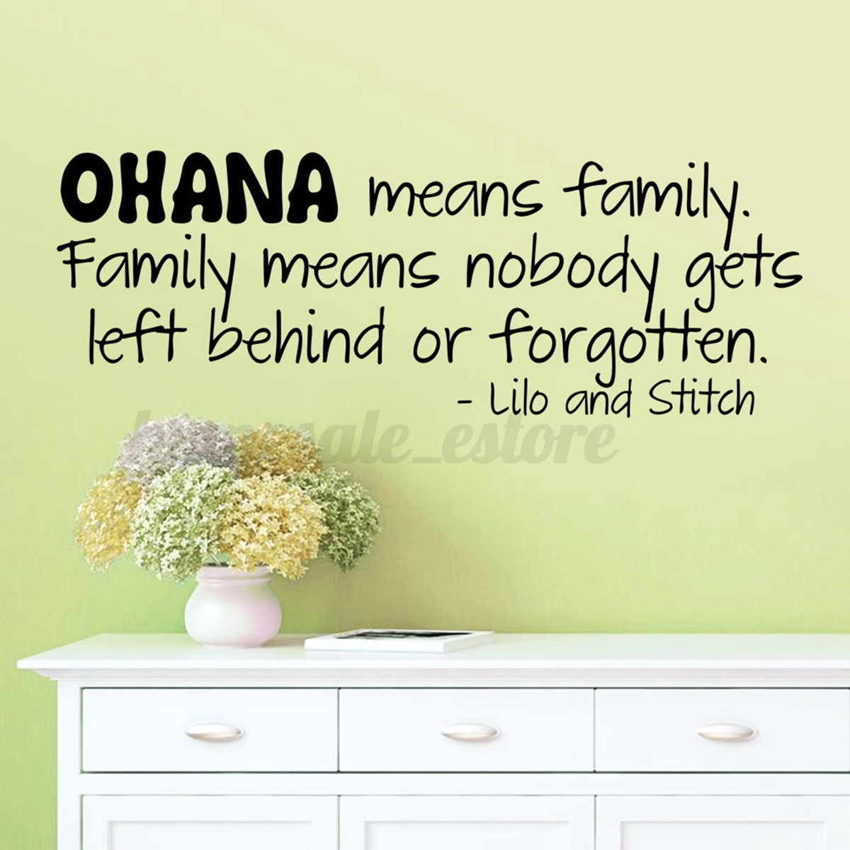 Removable OHANA MEANS FAMILY Art Vinyl Quote Wall Sticker Decal ...