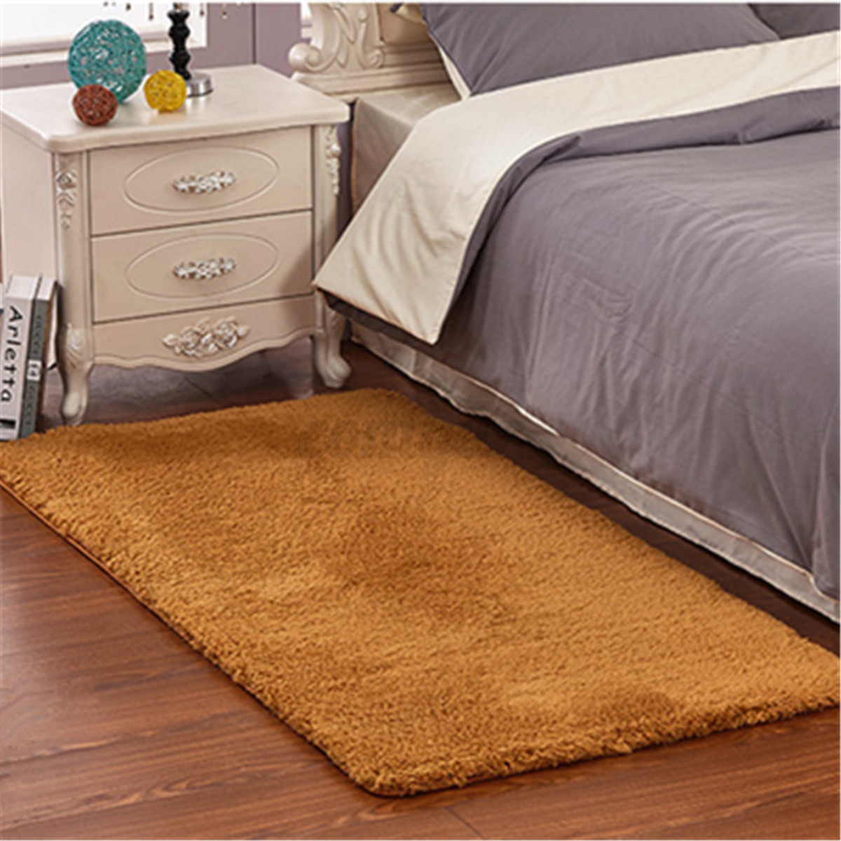 60x120cm anti skid shaggy fluffy area rug bedroom carpet for Bedroom rugs