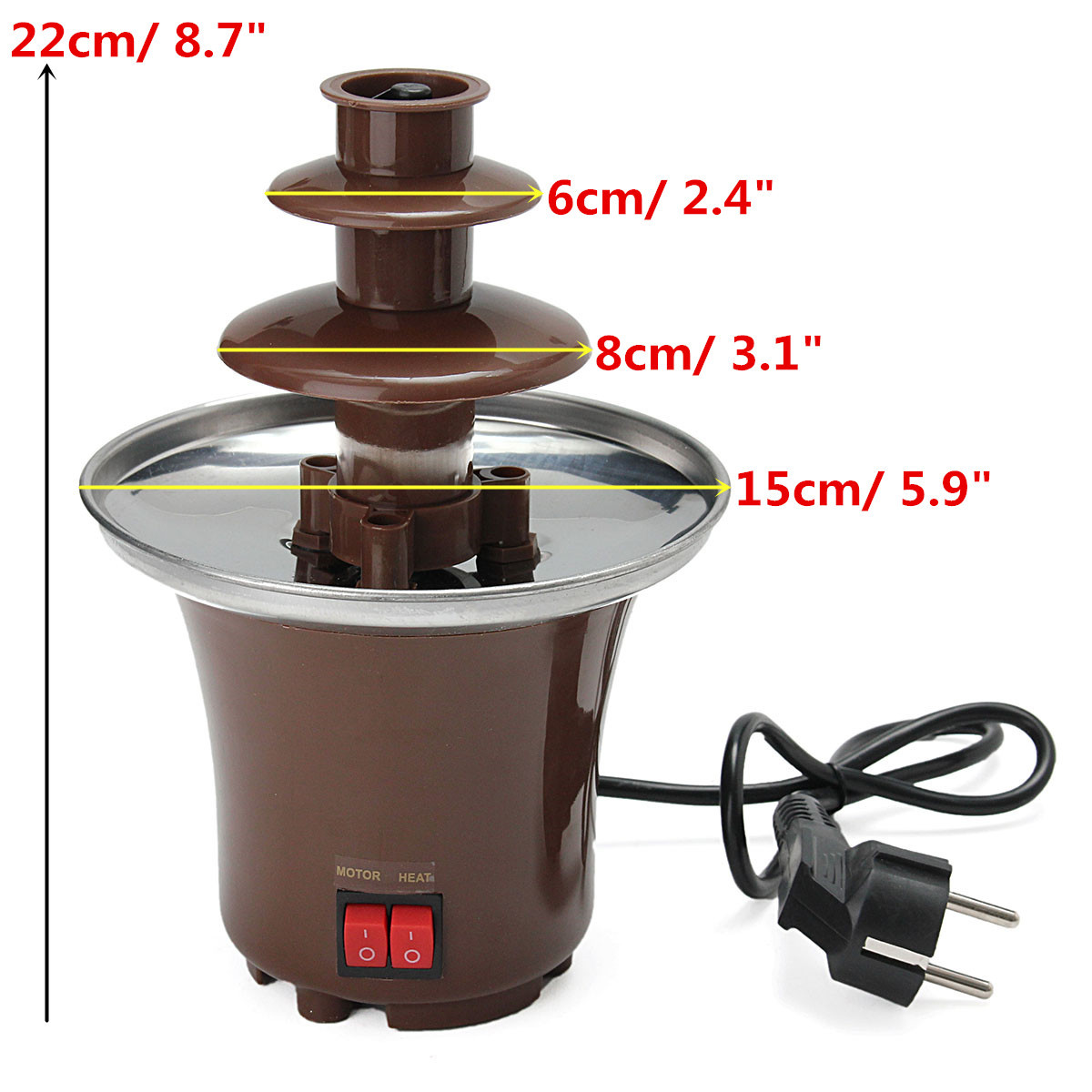 chocolate fountain machine fondue maker heated 3 tier home household party auctions buy and. Black Bedroom Furniture Sets. Home Design Ideas
