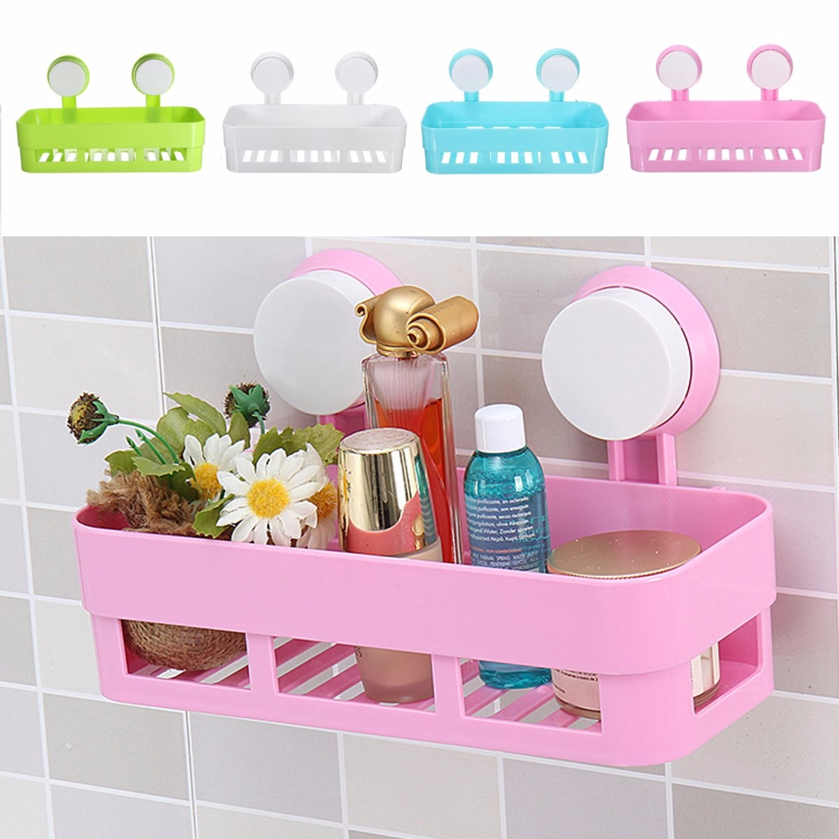 panier tag re support mural ventouse organiseur rangement pour salle de bain ebay. Black Bedroom Furniture Sets. Home Design Ideas