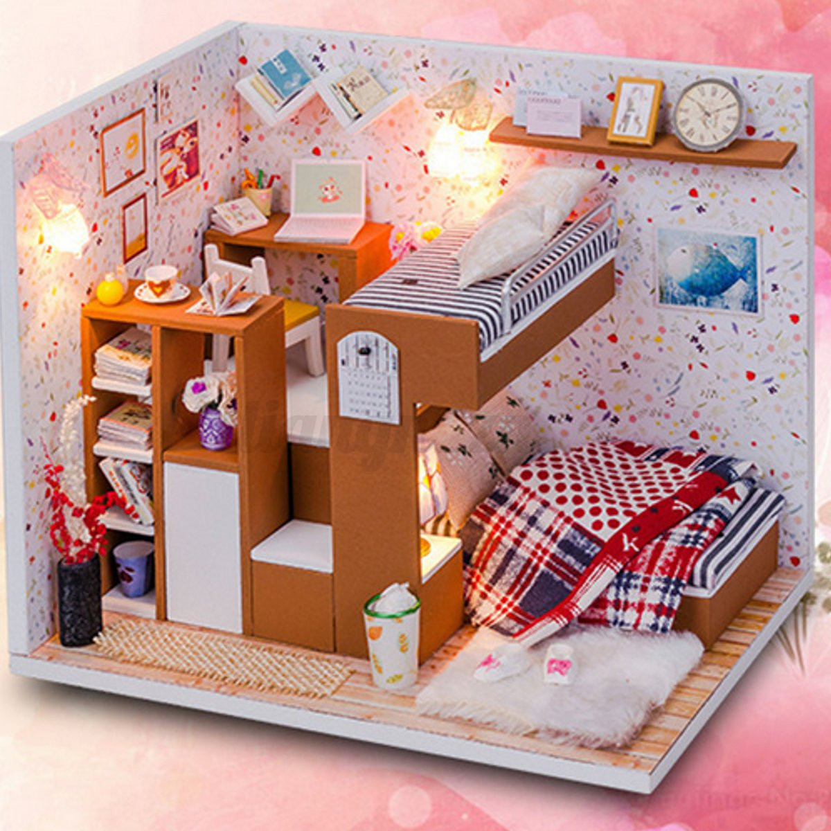 Diy Handmade Doll House Kit Miniature Led Wooden Furniture For Barbie Dollhouse