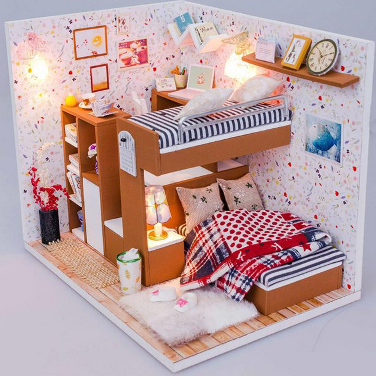 Diy Handmade Doll House Miniature Led Wooden Plastic Furniture Barbie Dollhouse Ebay