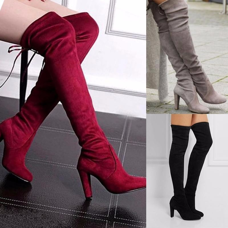 efb92fb242b57 Details about Womens Lady Over The Knee Boots Suede High Heel Block Lace  Thigh Shoes Size