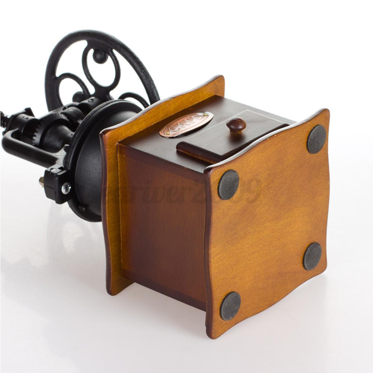 Vintage moulin broyeur caf expresso cafeti re machine manuel en bois fer eur 26 99 - Broyeuse a bois ...