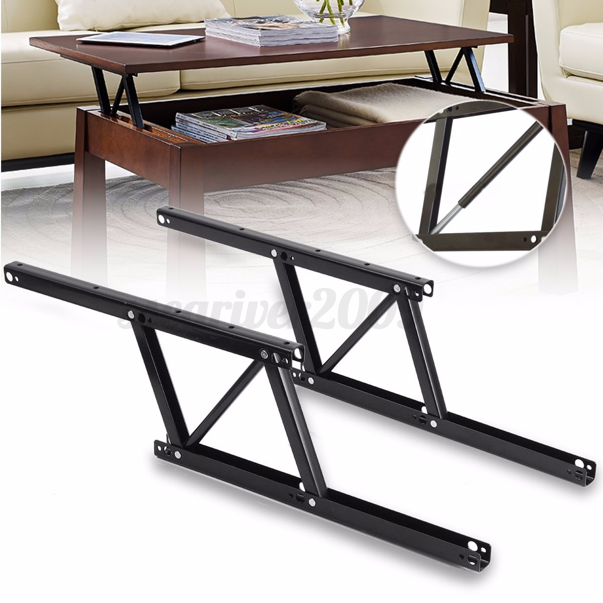1pair lift up top coffee table sofa bed frame furniture for Coffee table with hinged top