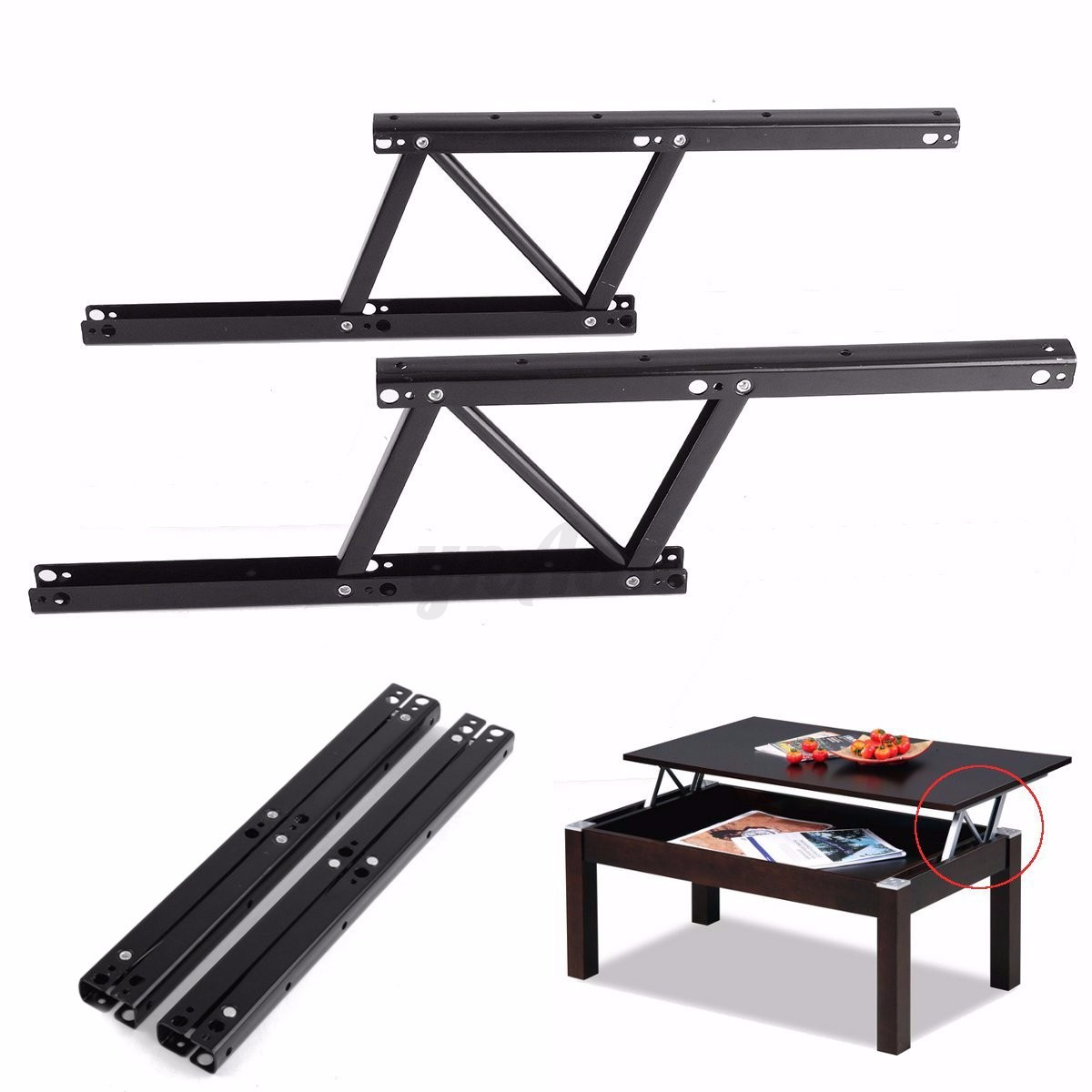 1pair diy lift up top coffee table sofa bed furniture for Lift top coffee table hinges