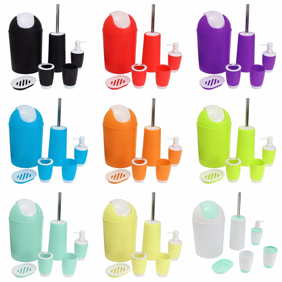 Image Is Loading 6PCS Plastic Bathroom  Accessory Dispenser Toothbrush Holder Tumbler