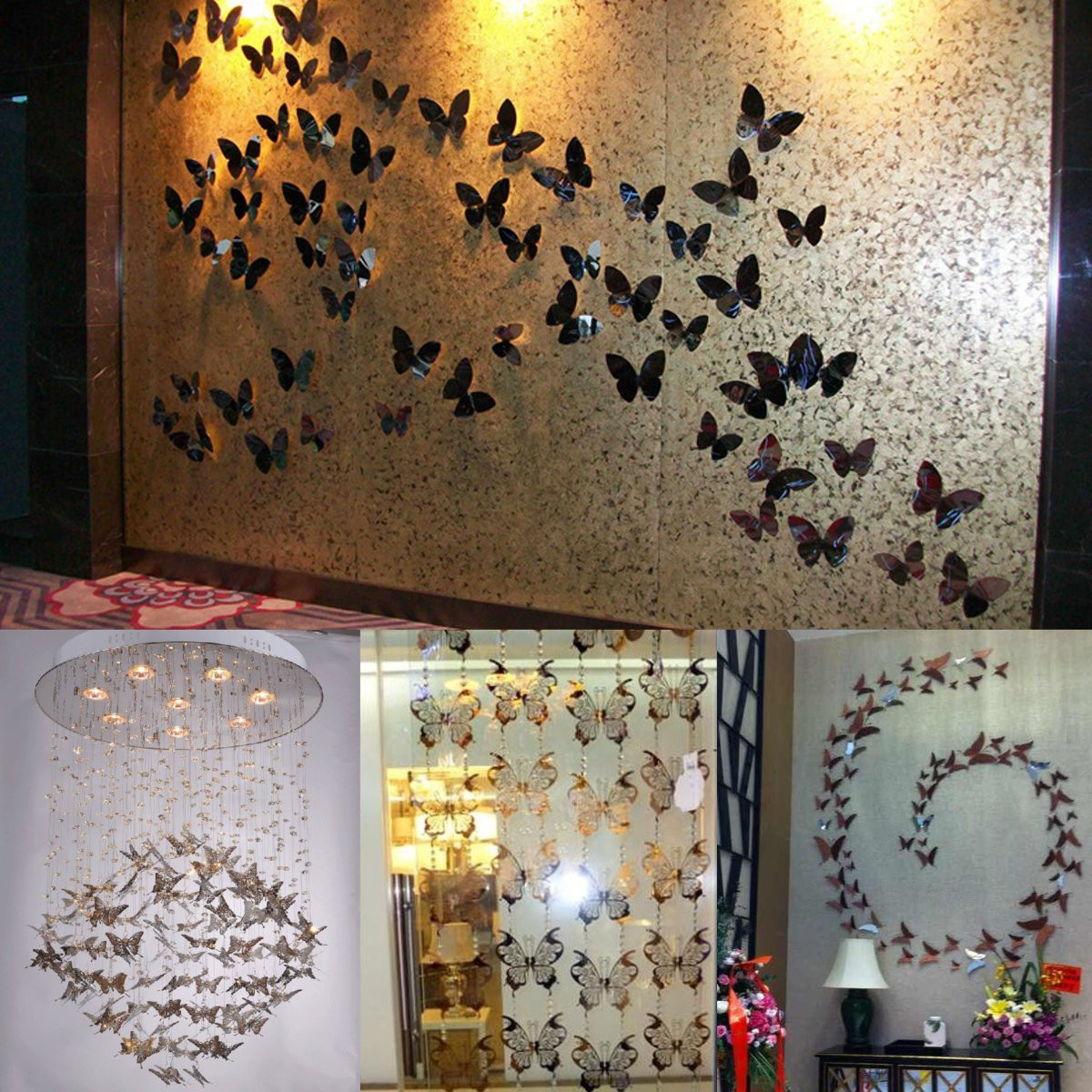 Butterfly Home Decor: 10pcs 3D Stainless Butterfly Wall Stickers Silver Mirror
