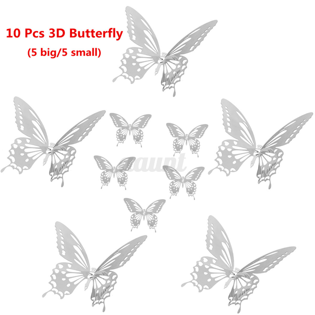 10pcs 3d stainless butterfly wall stickers silver mirror decals