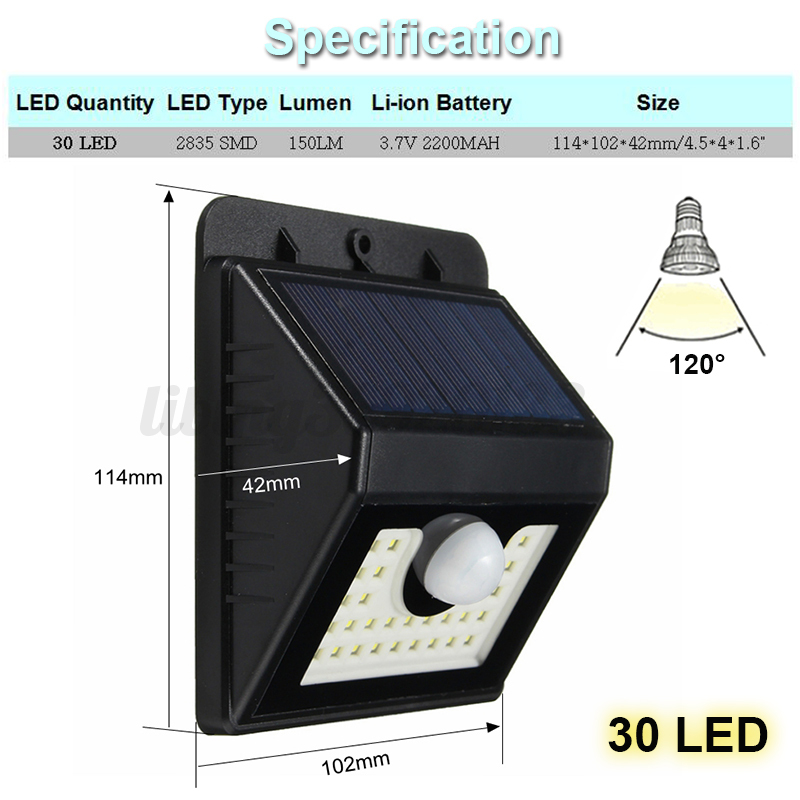 8 62 led solaire lampe lumi re pir d tecteur de mouvement ext rieur jardin ip65 ebay. Black Bedroom Furniture Sets. Home Design Ideas